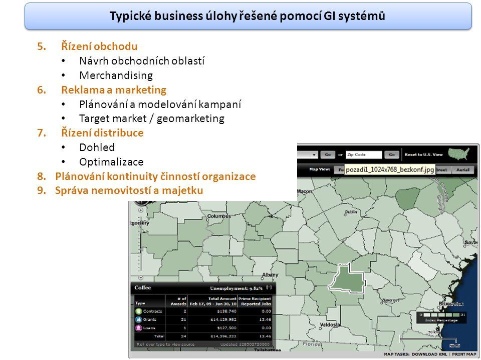 Typické business úlohy řešené pomocí GI systémů 5.Řízení obchodu Návrh obchodních oblastí Merchandising 6.Reklama a marketing Plánování a modelování k