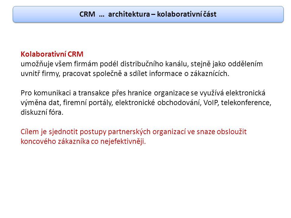 CRM … architektura – kolaborativní část Kolaborativní CRM umožňuje všem firmám podél distribučního kanálu, stejně jako oddělením uvnitř firmy, pracova