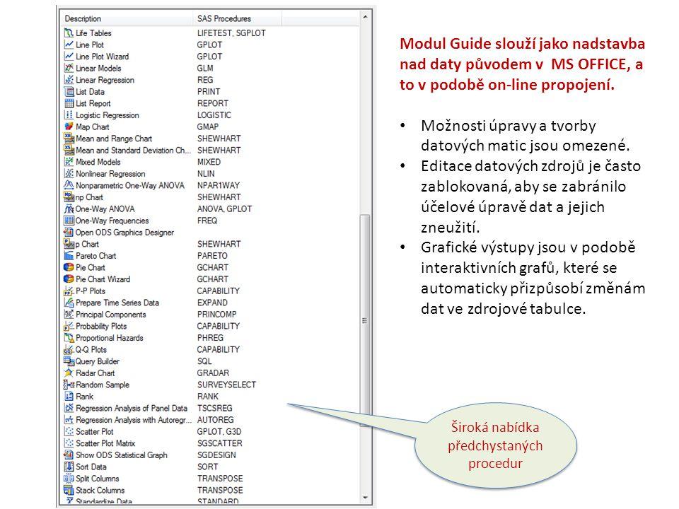 Široká nabídka předchystaných procedur Modul Guide slouží jako nadstavba nad daty původem v MS OFFICE, a to v podobě on-line propojení. Možnosti úprav