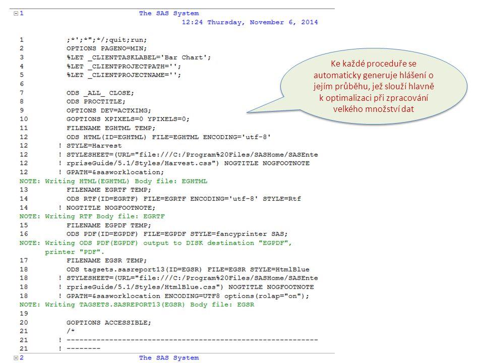Ke každé proceduře se automaticky generuje programový kód.