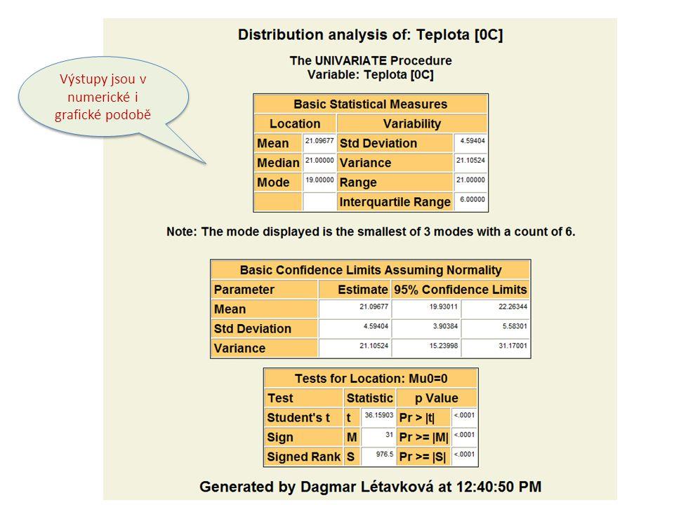 Výstupní formáty lze volit mezi PDF, HTML, RTF a formátu firmy SAS Většina procedur nabízí volbu: mnoha typů grafických výstupů, mnoha vhodných statistických testů několik variant statistických postupů