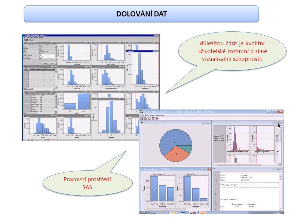 DOLOVÁNÍ DAT důležitou částí je kvalitní uživatelské rozhraní a silné vizualizační schopnosti. Pracovní prostředí SAS
