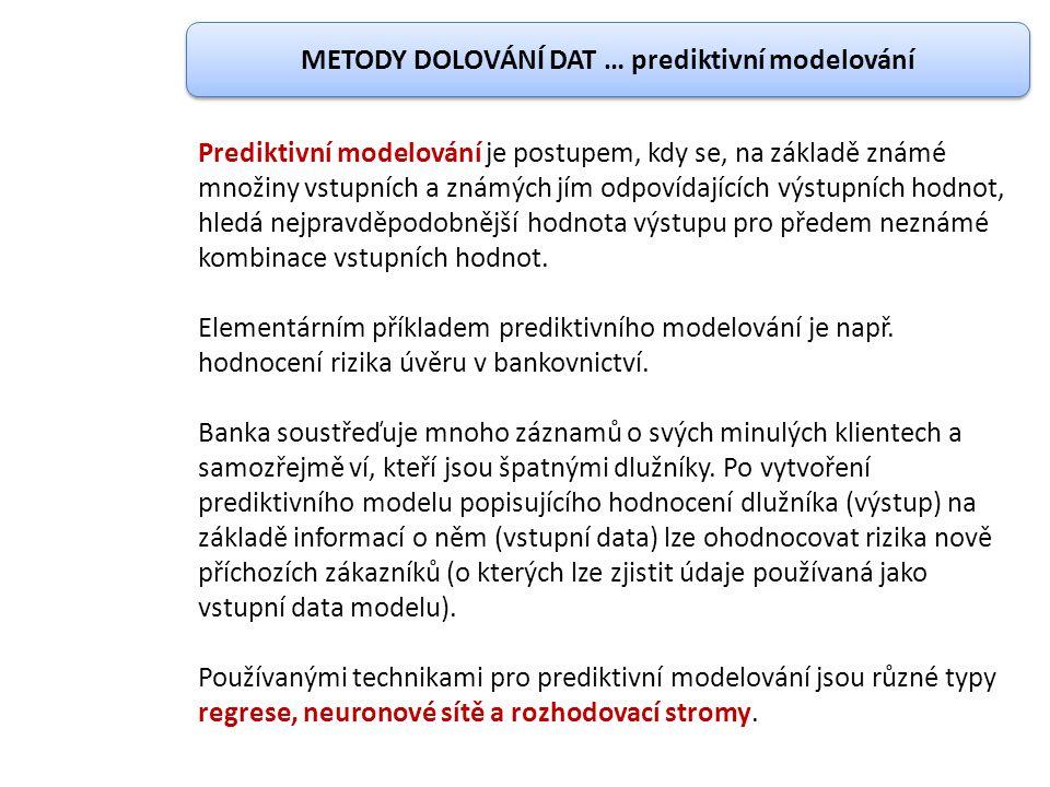 METODY DOLOVÁNÍ DAT … prediktivní modelování Prediktivní modelování je postupem, kdy se, na základě známé množiny vstupních a známých jím odpovídající