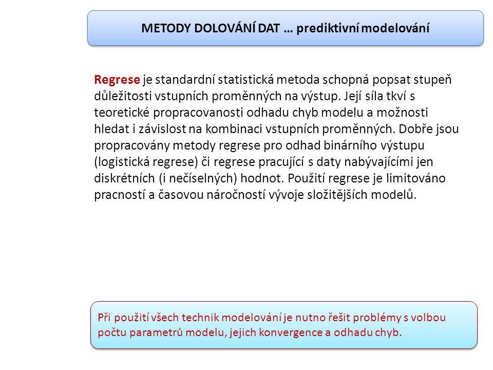 Regrese je standardní statistická metoda schopná popsat stupeň důležitosti vstupních proměnných na výstup. Její síla tkví s teoretické propracovanosti