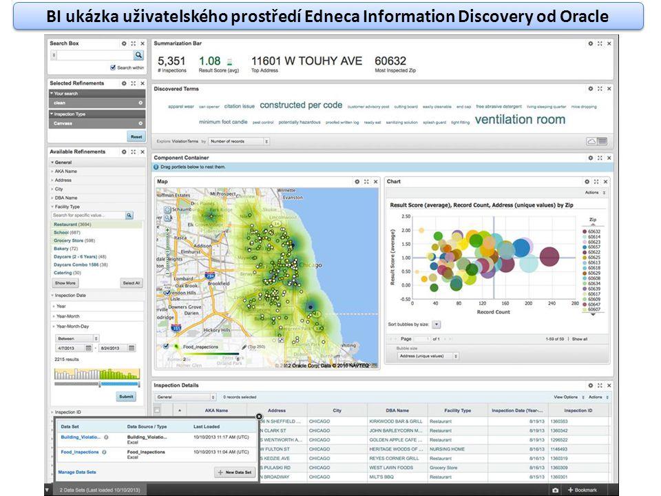 BI ukázka uživatelského prostředí Edneca Information Discovery od Oracle