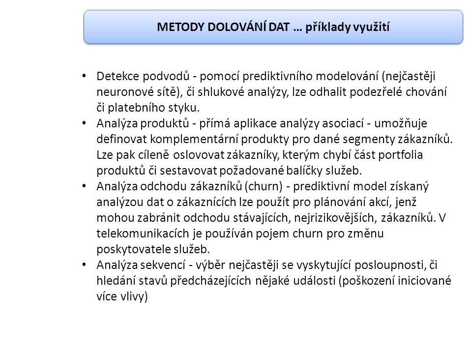 METODY DOLOVÁNÍ DAT … příklady využití Detekce podvodů - pomocí prediktivního modelování (nejčastěji neuronové sítě), či shlukové analýzy, lze odhalit