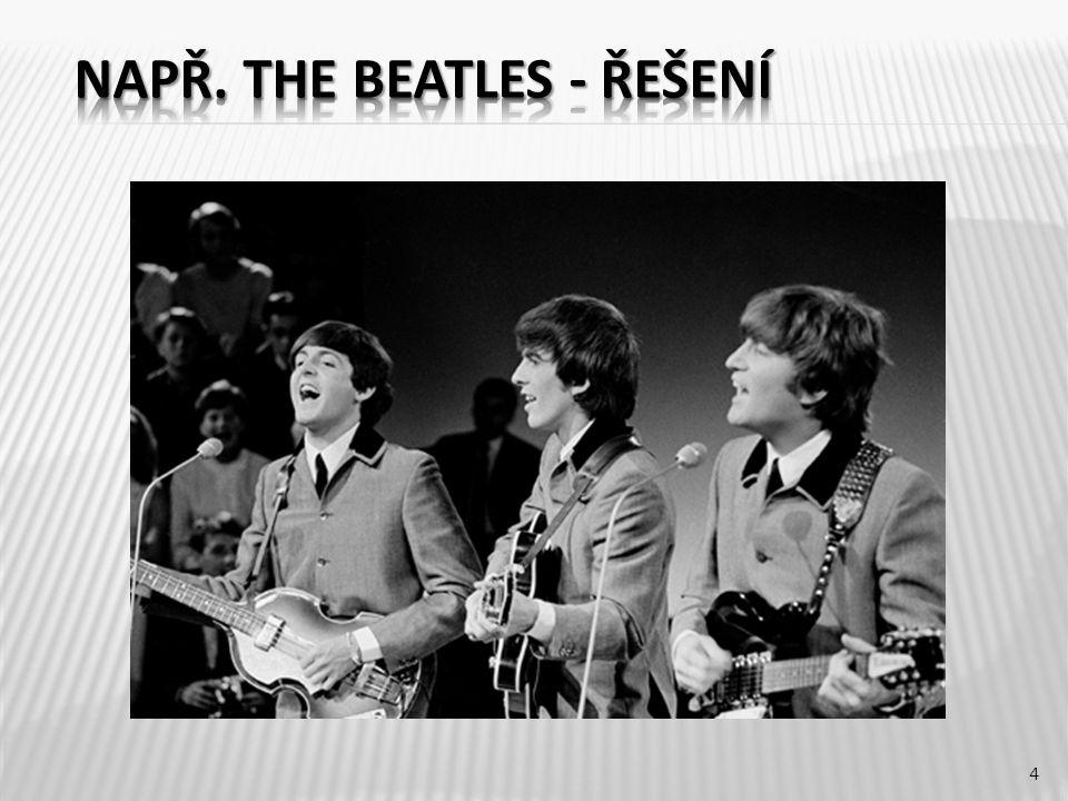 The Beatles byla anglická rock n rollová kapela z Liverpoolu.anglickárock n rollová Liverpoolu Jejími členy byli John Lennon (zpěv, doprovodná kytara), Paul McCartney (zpěv, basová kytara), George Harrison (sólová kytara, zpěv) a Ringo Starr (bicí, příležitostně zpěv).John LennonPaul McCartney George HarrisonRingo Starr Patří mezi komerčně nejúspěšnější a kritiky nejuznávanější kapely v historii populární hudby.