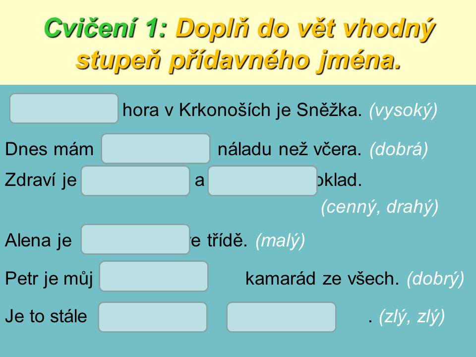 Řešení cvičení 1: hora v Krkonoších je Sněžka.(vysoký) Dnes mám náladu než včera.