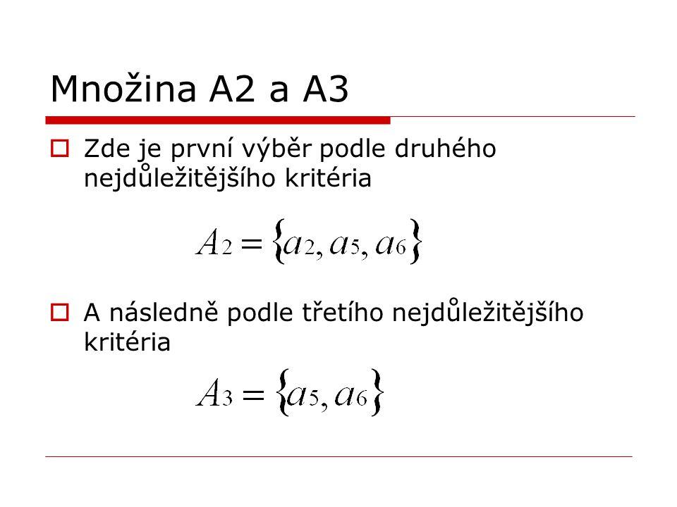 Množina A2 a A3  Zde je první výběr podle druhého nejdůležitějšího kritéria  A následně podle třetího nejdůležitějšího kritéria