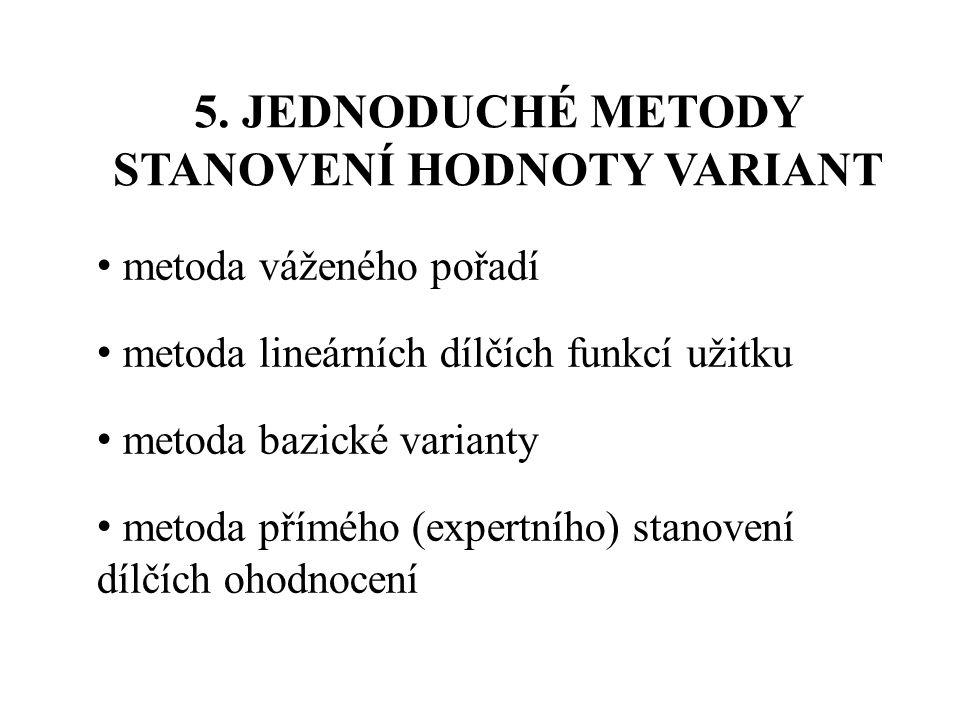 5. JEDNODUCHÉ METODY STANOVENÍ HODNOTY VARIANT metoda váženého pořadí metoda lineárních dílčích funkcí užitku metoda bazické varianty metoda přímého (