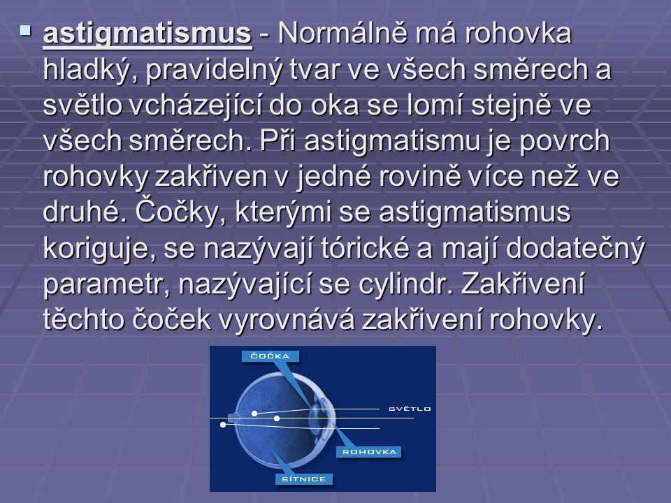  astigmatismus - Normálně má rohovka hladký, pravidelný tvar ve všech směrech a světlo vcházející do oka se lomí stejně ve všech směrech. Při astigma