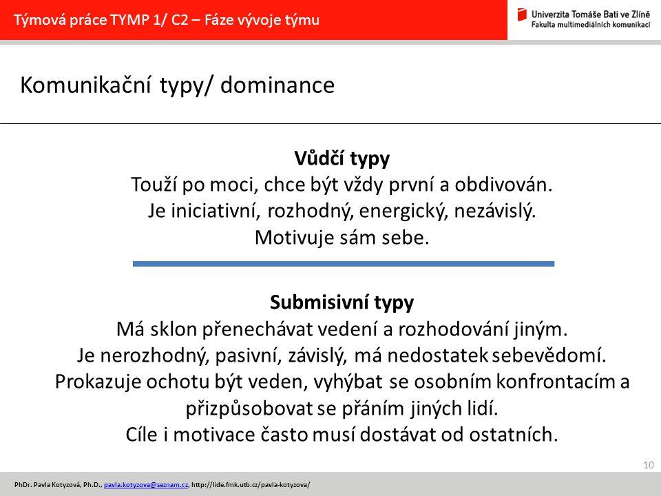 10 PhDr. Pavla Kotyzová, Ph.D., pavla.kotyzova@seznam.cz, http://lide.fmk.utb.cz/pavla-kotyzova/pavla.kotyzova@seznam.cz Komunikační typy/ dominance T