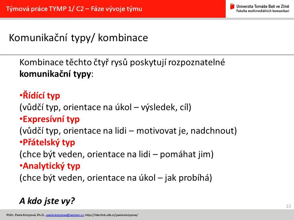 13 PhDr. Pavla Kotyzová, Ph.D., pavla.kotyzova@seznam.cz, http://lide.fmk.utb.cz/pavla-kotyzova/pavla.kotyzova@seznam.cz Komunikační typy/ kombinace T