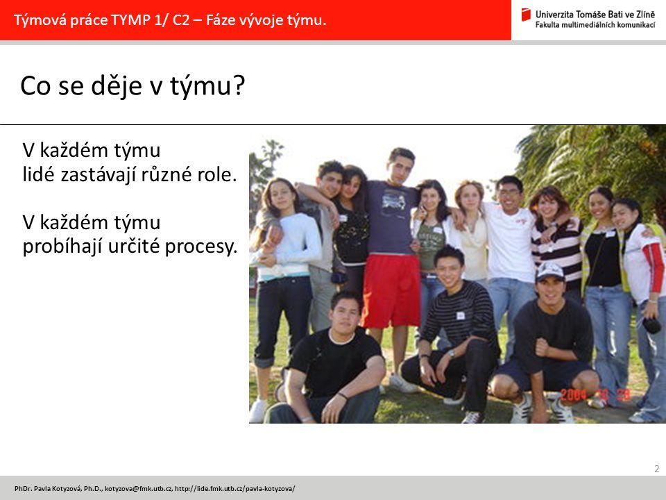 2 PhDr. Pavla Kotyzová, Ph.D., kotyzova@fmk.utb.cz, http://lide.fmk.utb.cz/pavla-kotyzova/ Co se děje v týmu? Týmová práce TYMP 1/ C2 – Fáze vývoje tý