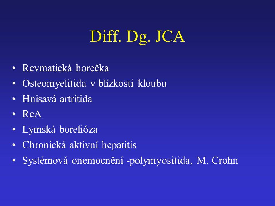 Diff. Dg. JCA Revmatická horečka Osteomyelitida v blízkosti kloubu Hnisavá artritida ReA Lymská borelióza Chronická aktivní hepatitis Systémová onemoc