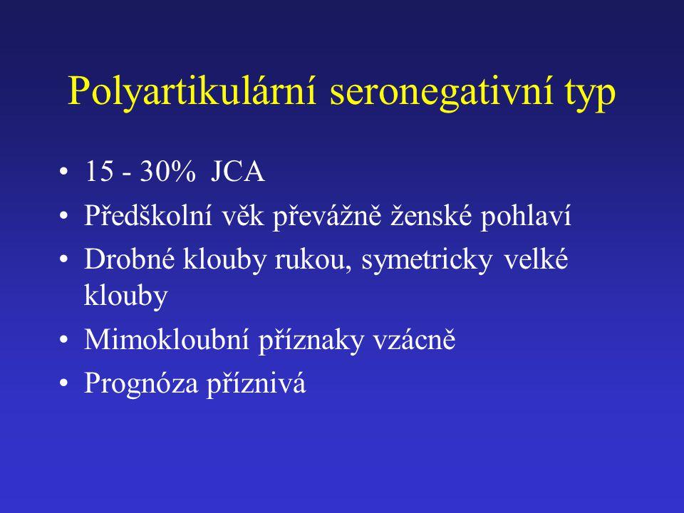 Polyartikulární seronegativní typ 15 - 30% JCA Předškolní věk převážně ženské pohlaví Drobné klouby rukou, symetricky velké klouby Mimokloubní příznak