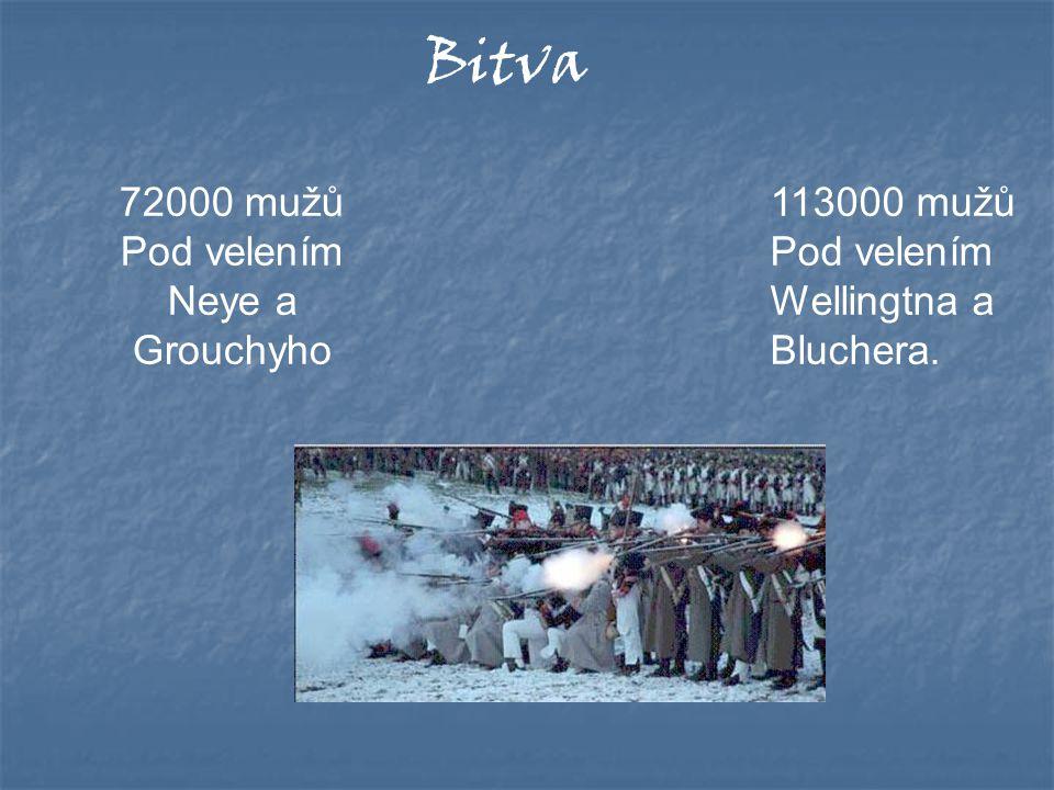 Bitva 72000 mužů Pod velením Neye a Grouchyho 113000 mužů Pod velením Wellingtna a Bluchera.