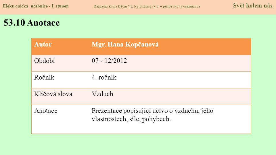 Elektronická učebnice - I. stupeň Základní škola Děčín VI, Na Stráni 879/2 – příspěvková organizace Svět kolem nás 53.10 Anotace AutorMgr. Hana Kopčan
