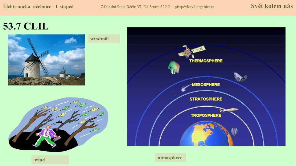 53.7 CLIL Elektronická učebnice - I. stupeň Základní škola Děčín VI, Na Stráni 879/2 – příspěvková organizace Svět kolem nás wind windmill atmosphere