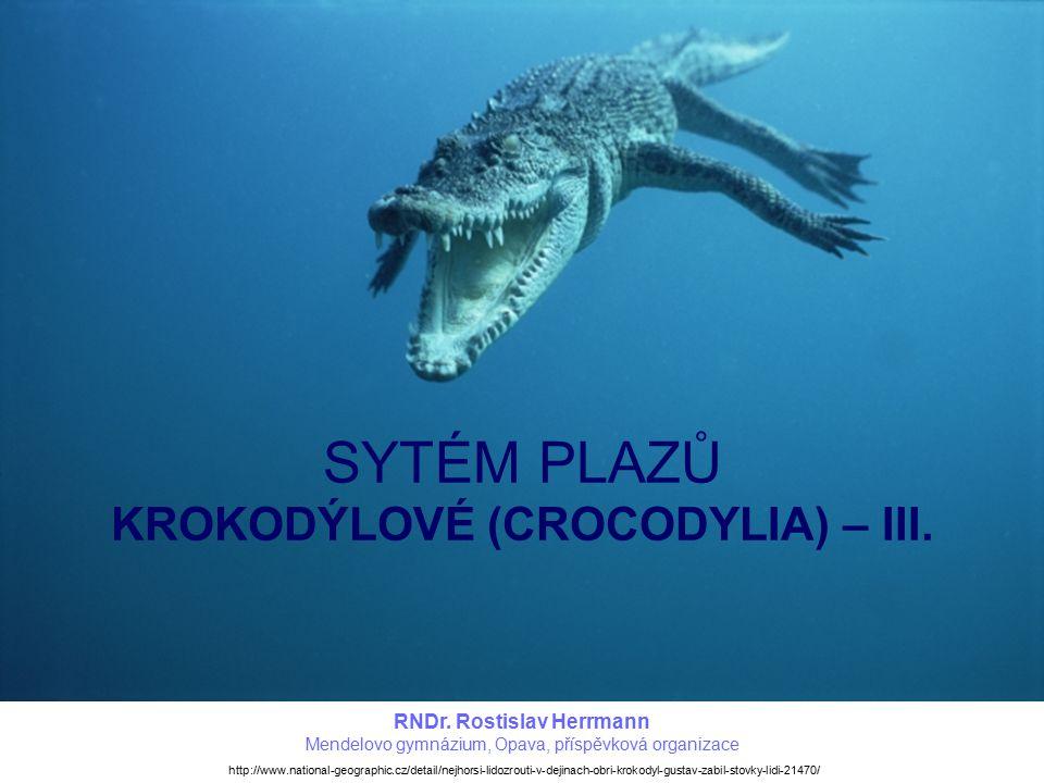 SYTÉM PLAZŮ KROKODÝLOVÉ (CROCODYLIA) – III.RNDr.