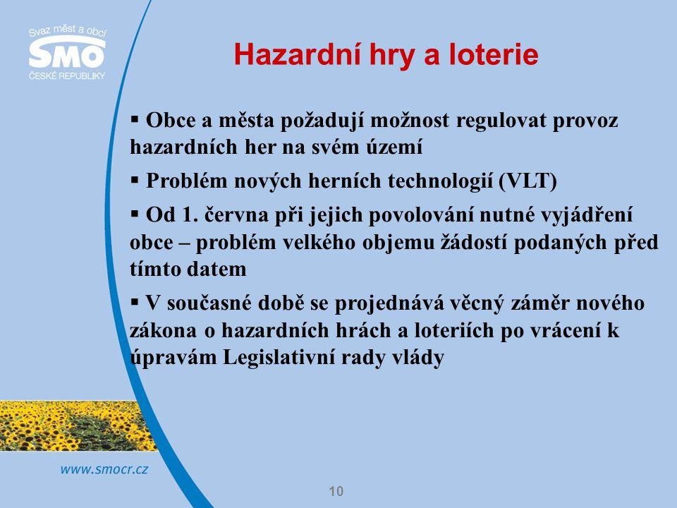 10 Hazardní hry a loterie  Obce a města požadují možnost regulovat provoz hazardních her na svém území  Problém nových herních technologií (VLT)  Od 1.