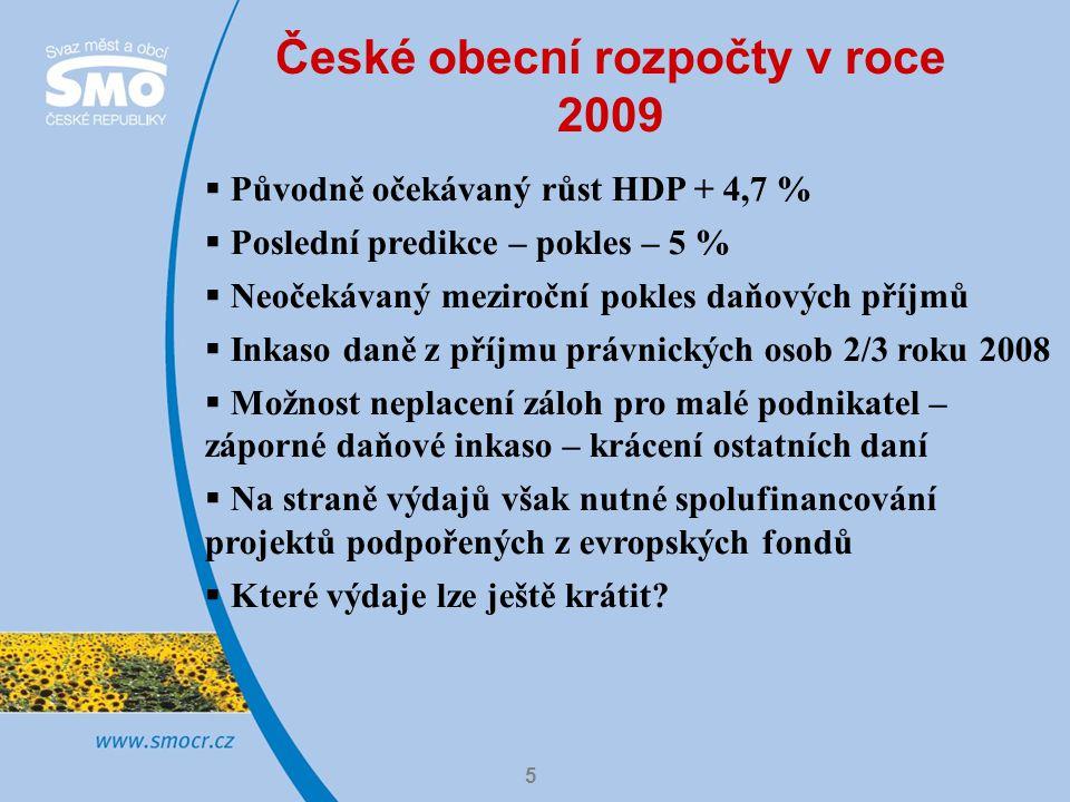 5 České obecní rozpočty v roce 2009  Původně očekávaný růst HDP + 4,7 %  Poslední predikce – pokles – 5 %  Neočekávaný meziroční pokles daňových příjmů  Inkaso daně z příjmu právnických osob 2/3 roku 2008  Možnost neplacení záloh pro malé podnikatel – záporné daňové inkaso – krácení ostatních daní  Na straně výdajů však nutné spolufinancování projektů podpořených z evropských fondů  Které výdaje lze ještě krátit