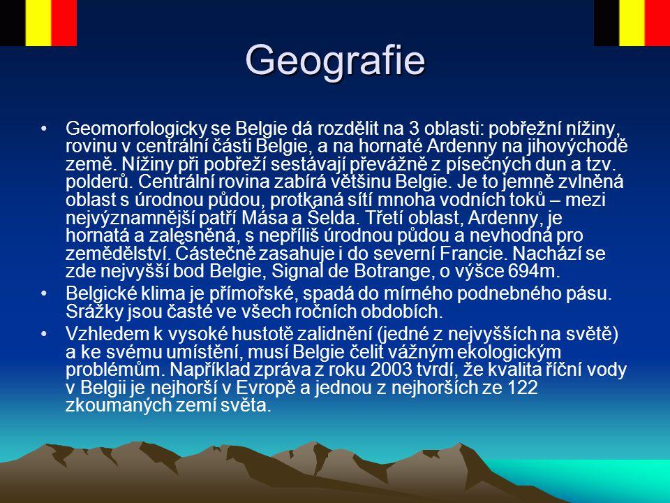 Geografie Geomorfologicky se Belgie dá rozdělit na 3 oblasti: pobřežní nížiny, rovinu v centrální části Belgie, a na hornaté Ardenny na jihovýchodě ze