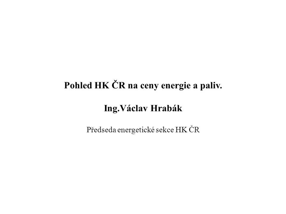 Pohled HK ČR na ceny energie a paliv. Ing.Václav Hrabák Předseda energetické sekce HK ČR