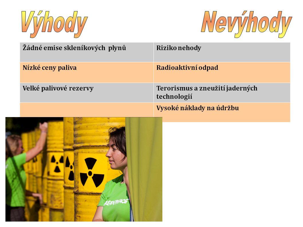 Žádné emise skleníkových plynů Riziko nehody Nízké ceny paliva Radioaktivní odpad Velké palivové rezervy Terorismus a zneužití jaderných technologií V