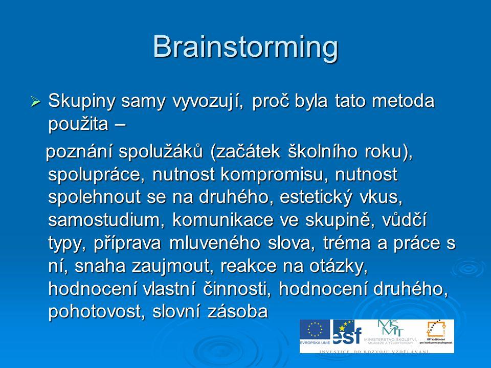 Brainstorming  Skupiny samy vyvozují, proč byla tato metoda použita – poznání spolužáků (začátek školního roku), spolupráce, nutnost kompromisu, nutn