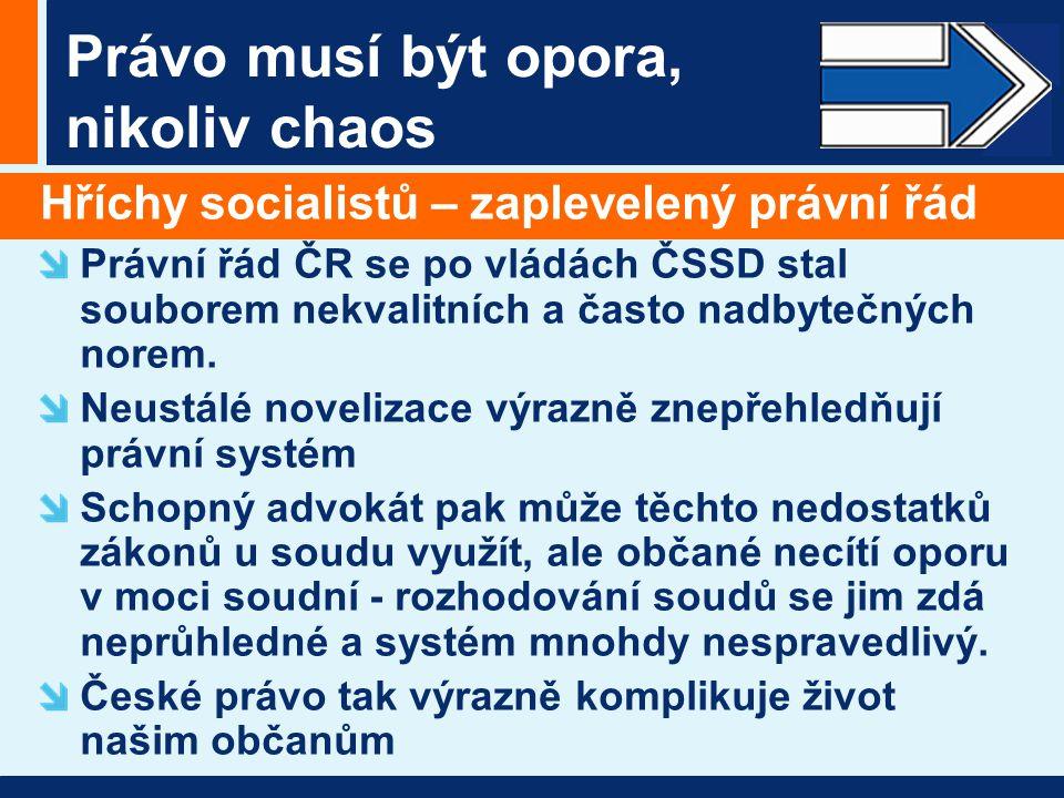 Právo musí být opora, nikoliv chaos Hříchy socialistů – zaplevelený právní řád Právní řád ČR se po vládách ČSSD stal souborem nekvalitních a často nad
