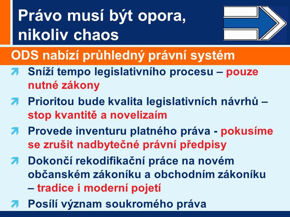 Právo musí být opora, nikoliv chaos ODS nabízí průhledný právní systém Sníží tempo legislativního procesu – pouze nutné zákony Prioritou bude kvalita