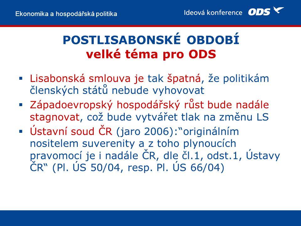 Ekonomika a hospodářská politika POSTLISABONSKÉ OBDOBÍ velké téma pro ODS  Lisabonská smlouva je tak špatná, že politikám členských států nebude vyhovovat  Západoevropský hospodářský růst bude nadále stagnovat, což bude vytvářet tlak na změnu LS  Ústavní soud ČR (jaro 2006): originálním nositelem suverenity a z toho plynoucích pravomocí je i nadále ČR, dle čl.1, odst.1, Ústavy ČR (Pl.