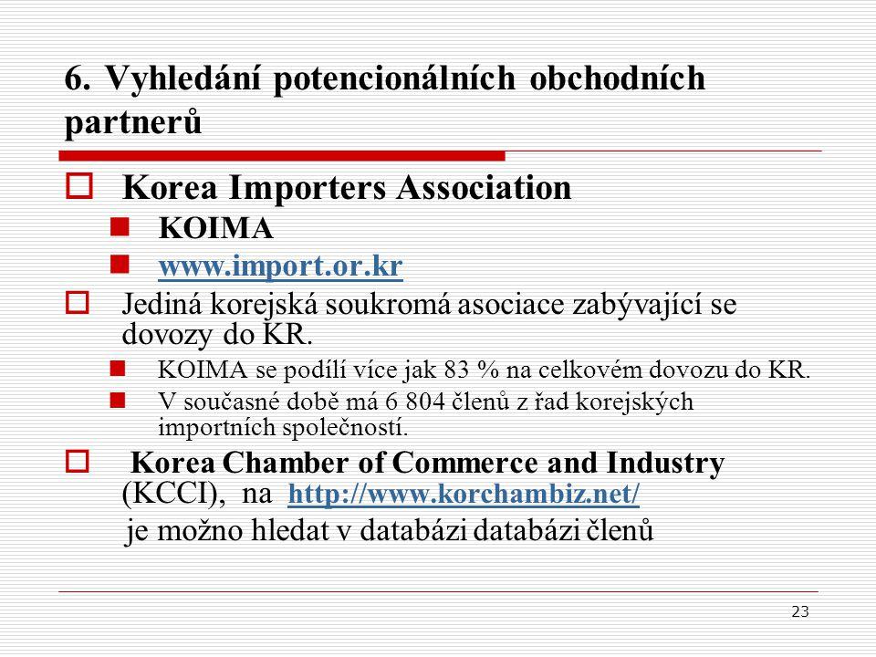 23 6. Vyhledání potencionálních obchodních partnerů  Korea Importers Association KOIMA www.import.or.kr  Jediná korejská soukromá asociace zabývajíc