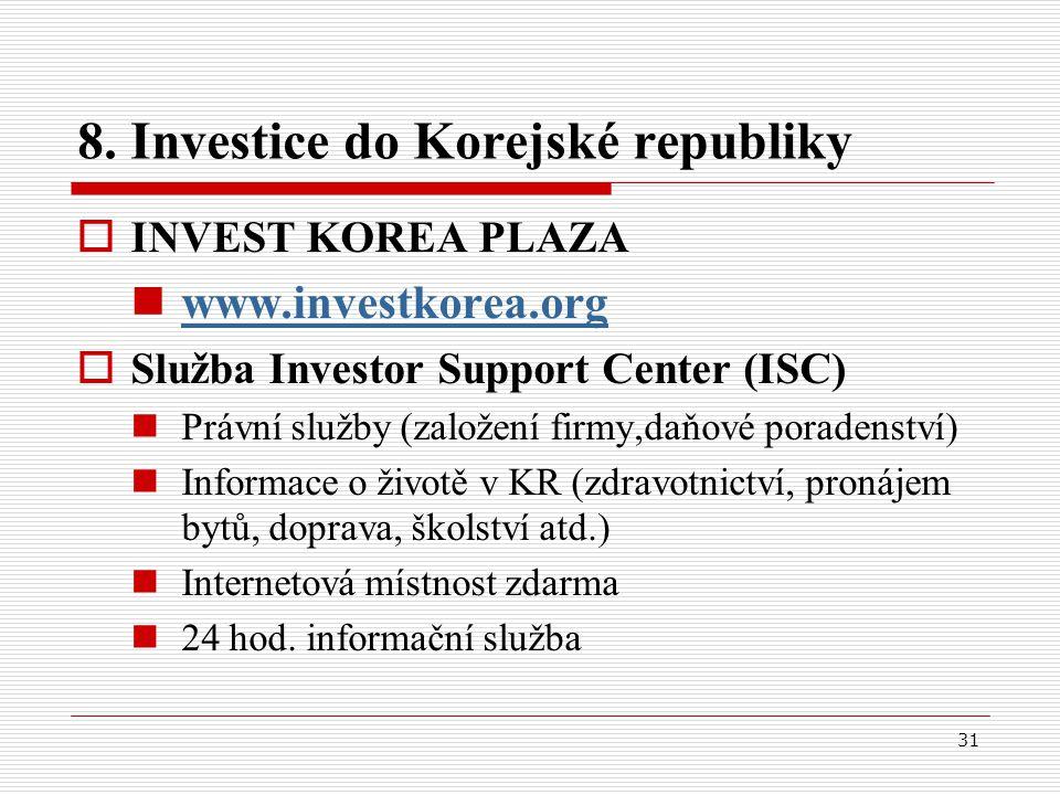 31 8. Investice do Korejské republiky  INVEST KOREA PLAZA www.investkorea.org  Služba Investor Support Center (ISC) Právní služby (založení firmy,da
