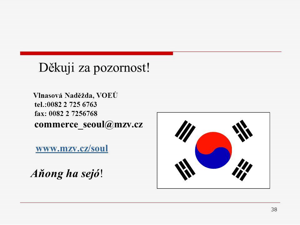 38 Děkuji za pozornost! Vlnasová Naděžda, VOEÚ tel.:0082 2 725 6763 fax: 0082 2 7256768 commerce_seoul@mzv.cz www.mzv.cz/soul Aňong ha sejó! www.korea