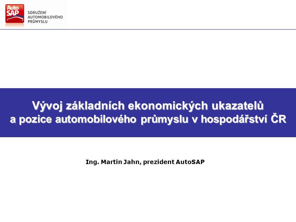 Vývoj základních ekonomických ukazatelů a pozice automobilového průmyslu v hospodářství ČR Ing.
