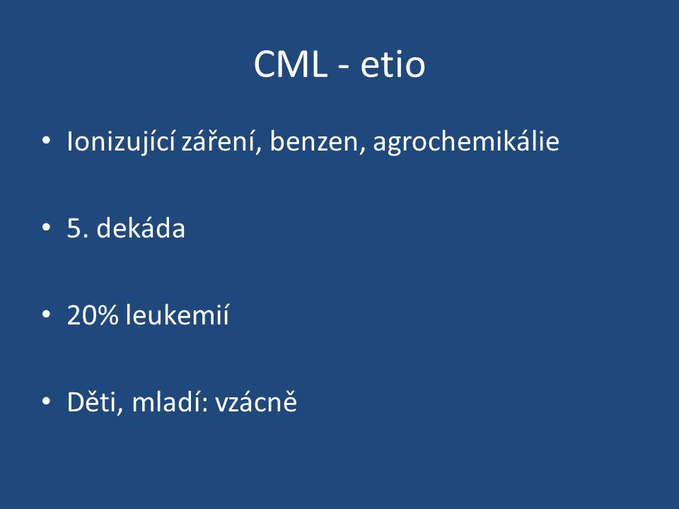 CML - etio Ionizující záření, benzen, agrochemikálie 5. dekáda 20% leukemií Děti, mladí: vzácně
