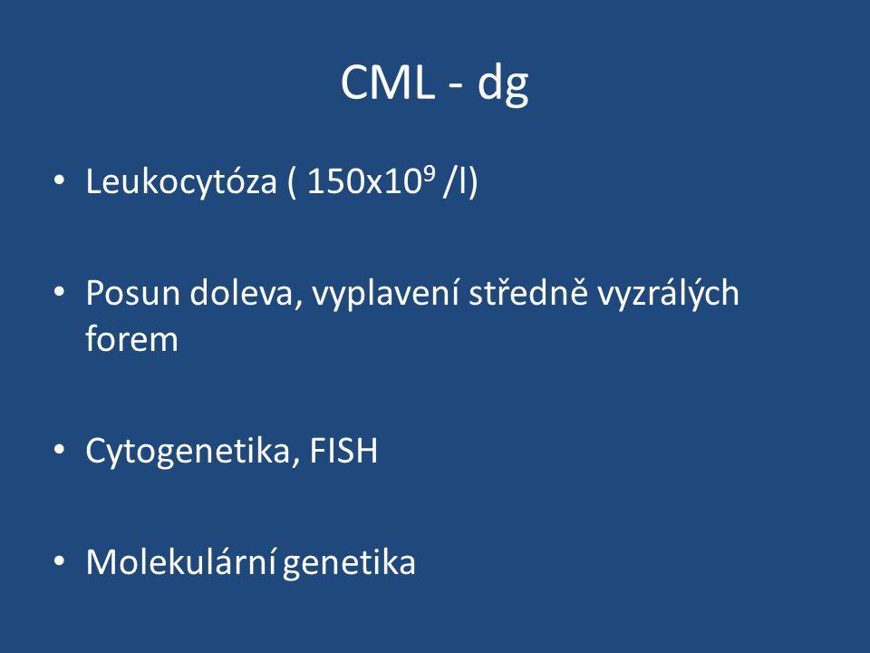 CML - dg Leukocytóza ( 150x10 9 /l) Posun doleva, vyplavení středně vyzrálých forem Cytogenetika, FISH Molekulární genetika