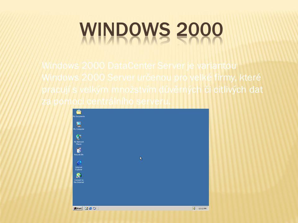 Windows 2000 DataCenter Server je variantou Windows 2000 Server určenou pro velké firmy, které pracují s velkým množstvím důvěrných či citlivých dat z
