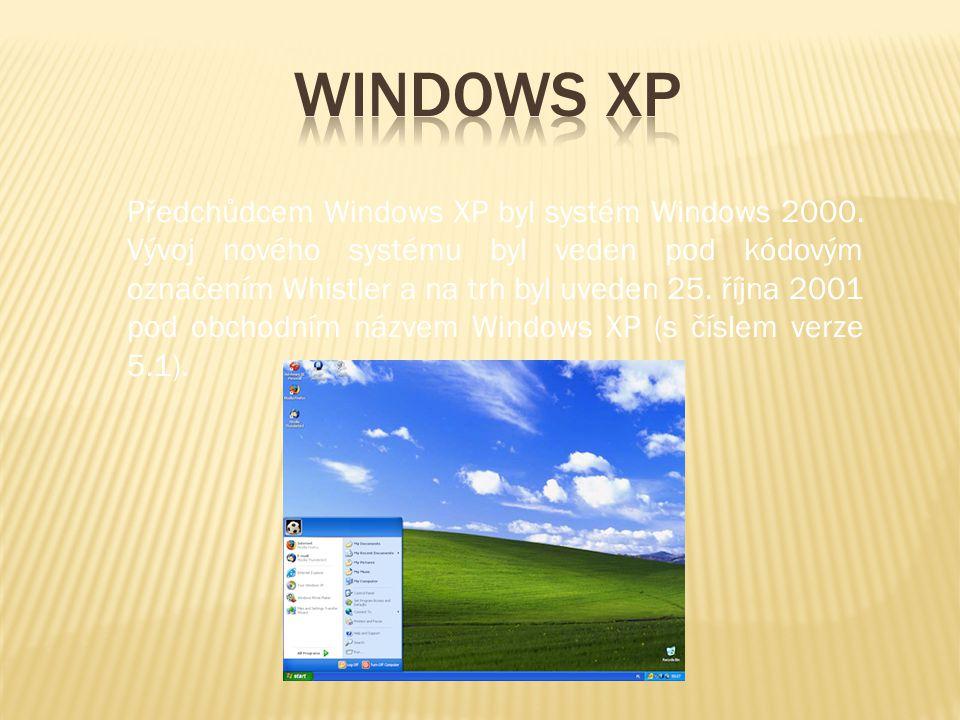 Předchůdcem Windows XP byl systém Windows 2000. Vývoj nového systému byl veden pod kódovým označením Whistler a na trh byl uveden 25. října 2001 pod o