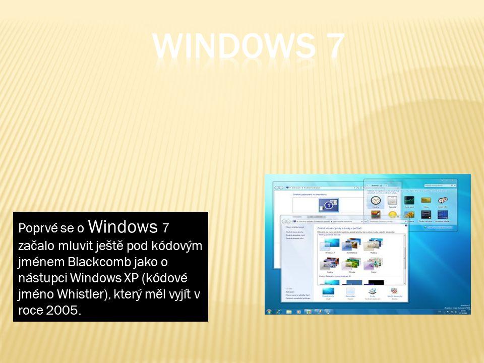 Poprvé se o Windows 7 začalo mluvit ještě pod kódovým jménem Blackcomb jako o nástupci Windows XP (kódové jméno Whistler), který měl vyjít v roce 2005