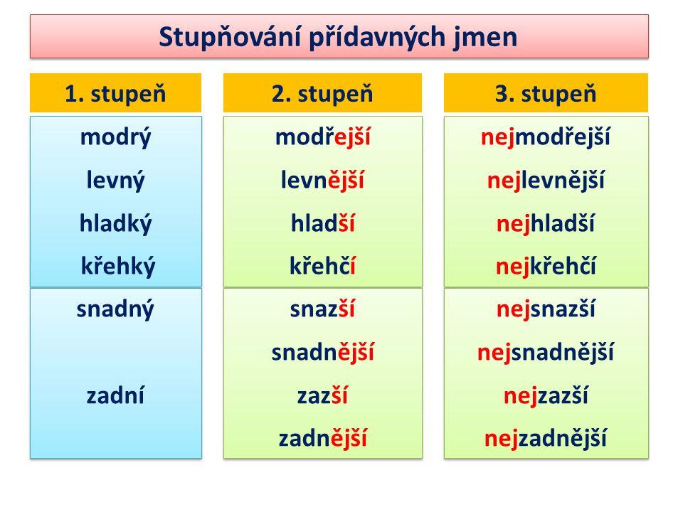 Stupňování přídavných jmen 1. stupeň2. stupeň3.