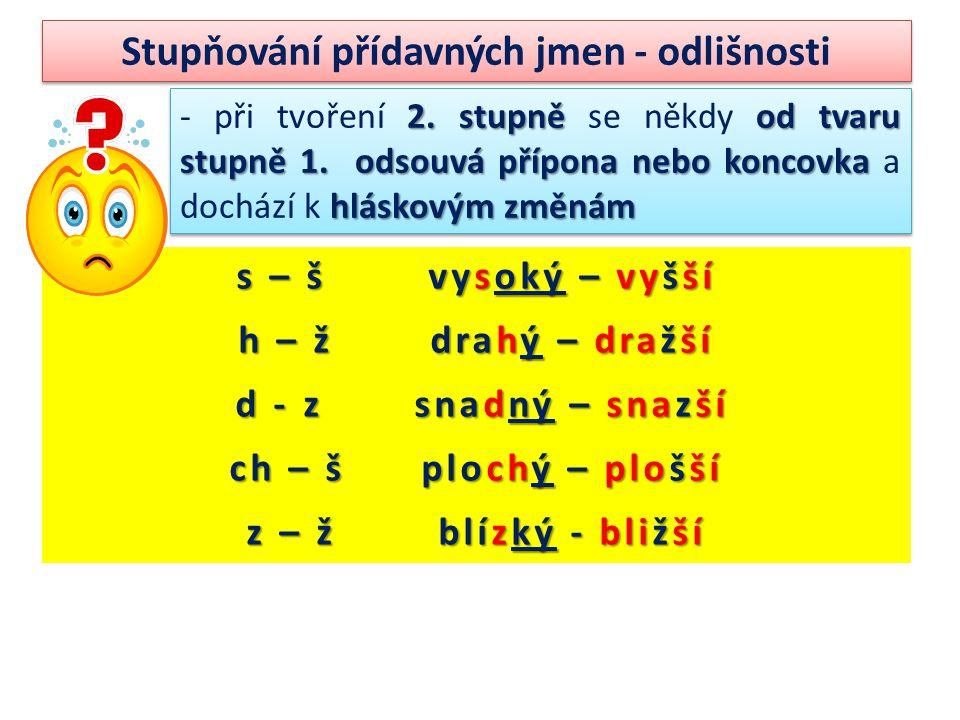Stupňování přídavných jmen - odlišnosti 2. stupně od tvaru stupně 1.
