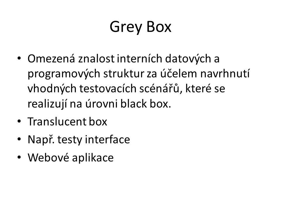 Grey Box Omezená znalost interních datových a programových struktur za účelem navrhnutí vhodných testovacích scénářů, které se realizují na úrovni black box.