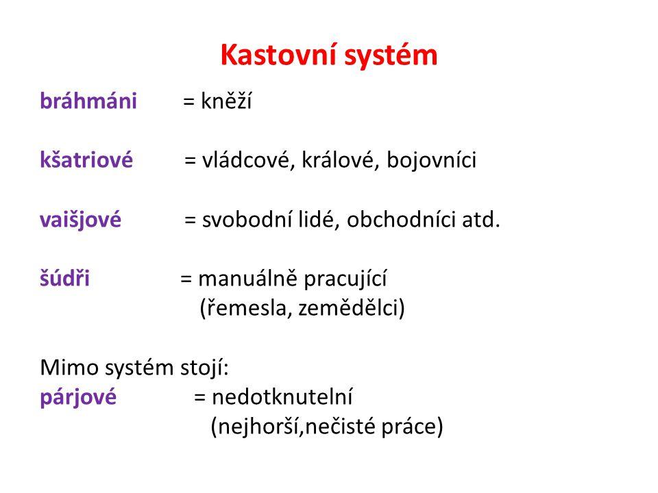 Kastovní systém bráhmáni = kněží kšatriové = vládcové, králové, bojovníci vaišjové = svobodní lidé, obchodníci atd. šúdři = manuálně pracující (řemesl
