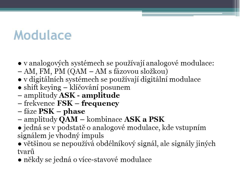 Modulace ● v analogových systémech se používají analogové modulace: – AM, FM, PM (QAM – AM s fázovou složkou) ● v digitálních systémech se používají digitální modulace ● shift keying – klíčování posunem – amplitudy ASK - amplitude – frekvence FSK – frequency – fáze PSK – phase – amplitudy QAM – kombinace ASK a PSK ● jedná se v podstatě o analogové modulace, kde vstupním signálem je vhodný impuls ● většinou se nepoužívá obdélníkový signál, ale signály jiných tvarů ● někdy se jedná o více-stavové modulace