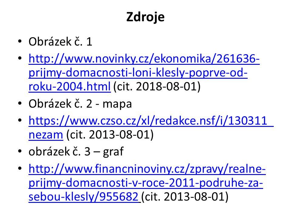 Zdroje Obrázek č. 1 http://www.novinky.cz/ekonomika/261636- prijmy-domacnosti-loni-klesly-poprve-od- roku-2004.html (cit. 2018-08-01) http://www.novin