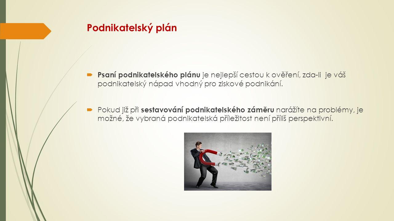 Struktura podnikatelského plánu  titulní strana,  exekutivní souhrn,  popis podniku,  analýza vnitřních a vnějších podmínek podniku,  marketingový plán,  operační plán,  personální zdroje,  finanční analýza,  finanční plán,  hodnocení rizik,  zhodnocení ekonomické efektivity podniku,  závěr,  přílohy.