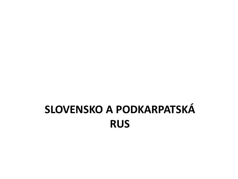 Slovensko – hospodářsky zaostalé žádná vzdělaná vrstva + maďarizace => posíláni čeští vzdělanci X snaha o autonomii Podkarpatská Rus – nejzaostalejší oblast ČSR